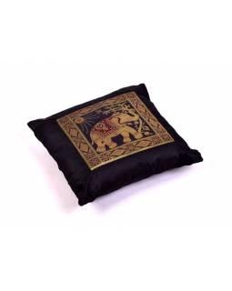 Černý saténový povlak na polštář s výšivkou slon, zip, 40x40cm