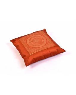 Cihlový saténový povlak na polštář s výšivkou mandala, zip, 40x40cm