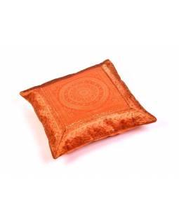 Oranžový saténový povlak na polštář s výšivkou mandala, zip, 40x40cm