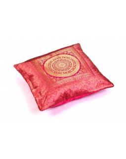 Růžový saténový povlak na polštář s výšivkou mandala, zip, 40x40cm