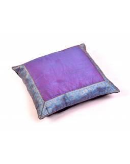 Fialovo-modrý saténový povlak na polštář s výšivkou, zip, 40x40cm