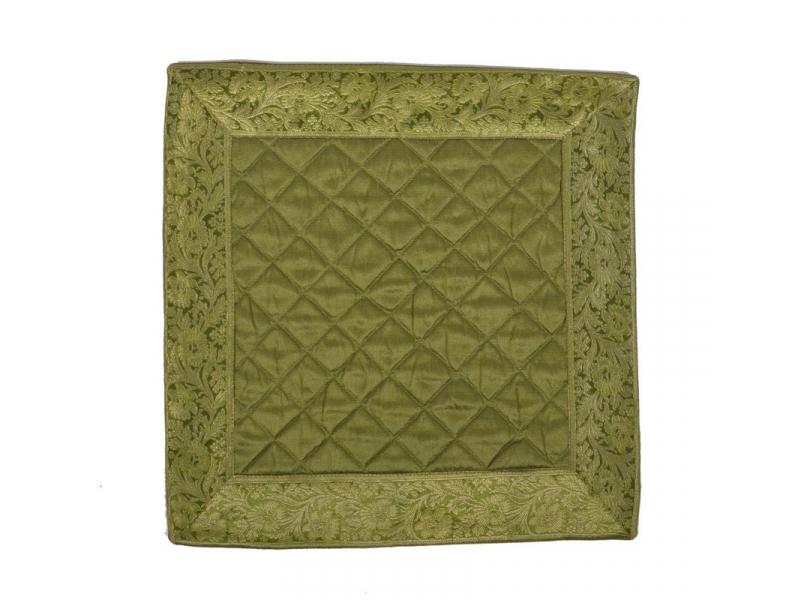 Zelený saténový povlak na polštář s výšivkou, zip, 40x40cm