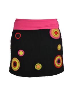 Krátká černo růžová sukně s kruhovými aplikacemi a pružným pasem