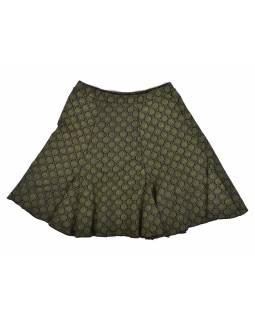 Krátká sukně, černá, zelená kolečka, elastický pas