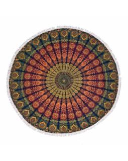 Bavlněný kulatý přehoz s mandalou, tmavě modro-oranžový, 188 cm