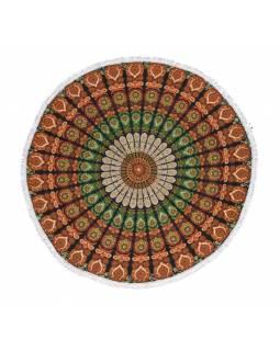 Bavlněný kulatý přehoz s mandalou, tmavě zeleno-oranžový, 188 cm