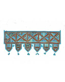 Závěs nad dveře, řetězová výšivka, sklíčka, tyrkysový, 90x35cm