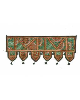 Závěs nad dveře, řetězová výšivka, sklíčka, zelený, 90x35cm
