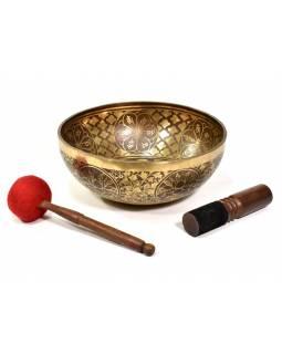 """Tibetská mísa, """"Gulpa"""", gravírovaná s designem, průměr 31cm, výška 13cm"""