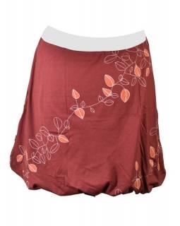"""Krátká vínová balonová sukně, """"Leaves"""" design, bílý potisk a výšivka"""