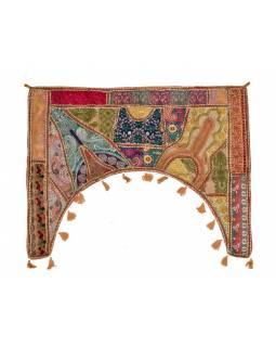 Závěs nad dveře, Rajasthan, ručně vyšívané, oblouk, cca 78*100cm