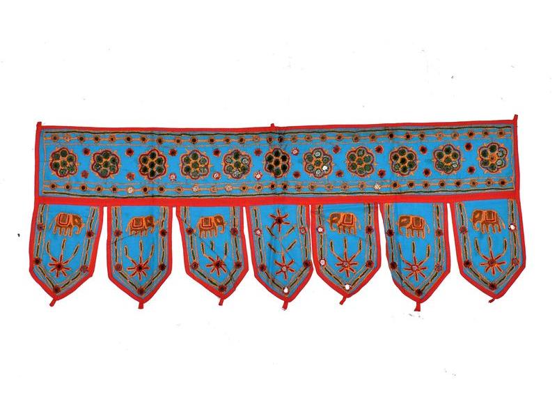 Závěs nad dveře, řetězová výšivka, sklíčka, modrý, 90x35cm