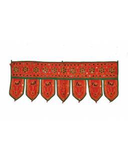Závěs nad dveře, řetězová výšivka, sklíčka, červený, 90x35cm
