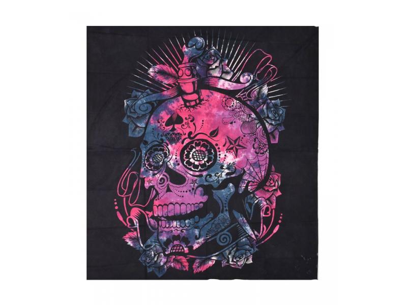 Černý přehoz s lebkou, barevná batika, 230x200cm