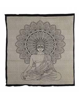 Přehoz na postel, Buddha, černo-béžový potisk, 204x227cm