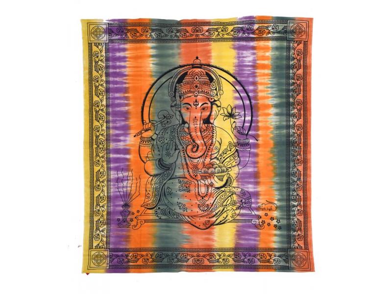 Přehoz na postel, Ganéš, barevná batika, 230x200cm