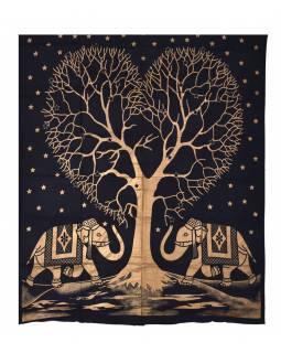Přehoz s tiskem, strom a dva sloni, černo-zlatý, 230x200 cm