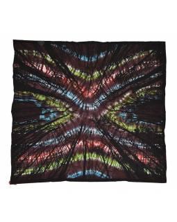 Přehoz s tiskem, les, tmavá batika, 230x200 cm