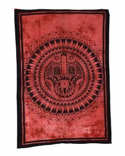 Přehoz s tiskem, ruka Fatimy, červená batika, 210x130cm