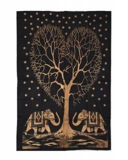Přehoz s tiskem, sloni a strom života, černo-zlatý 200x130cm