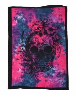 Přehoz na postel, lebka, růžovo-šedivá batika, 220x130cm