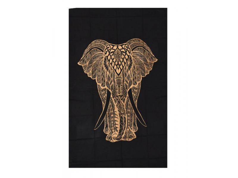 Přehoz s tiskem, Slon, černo-zlatý, 130x200 cm