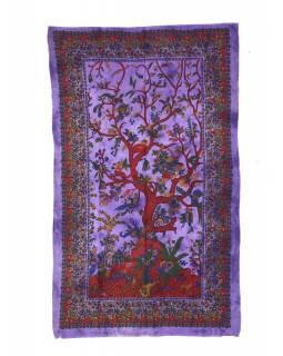 Přehoz s tiskem, strom života, fialový, 130x210 cm