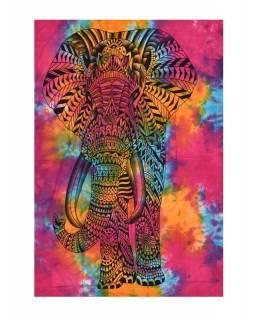 Přehoz s tiskem, Slon, barevná batika, 130x210 cm