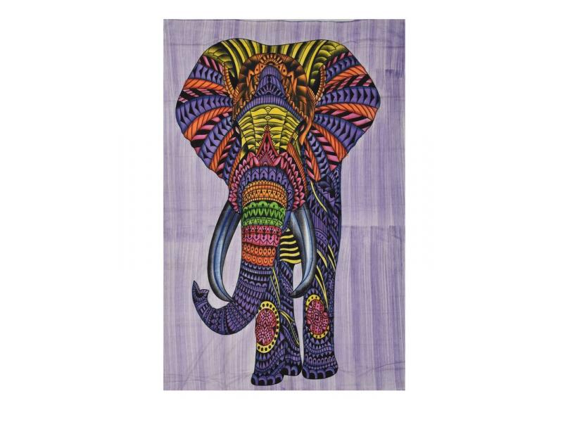 Přehoz s tiskem, Slon, barevný, 130x200 cm