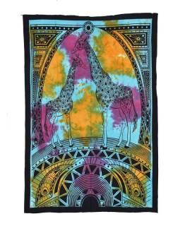 Přehoz s tiskem, Žirafy, barevná batika, 130x210 cm