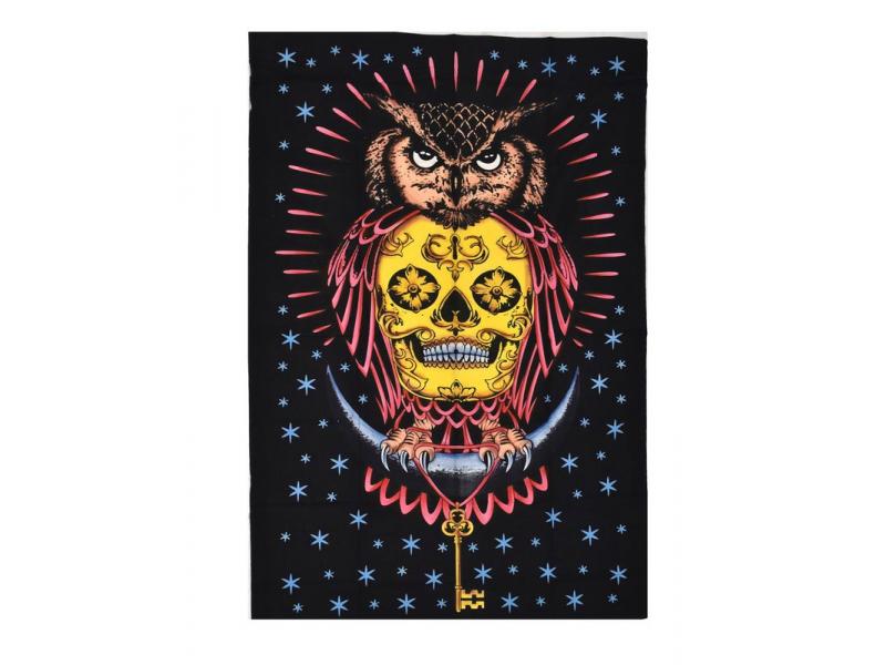Přehoz s tiskem, Sova s lebkou, černý s barevným vzorem, 130x200 cm