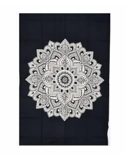 Přehoz s tiskem, květinová mandala, černo bílá, 130x200cm