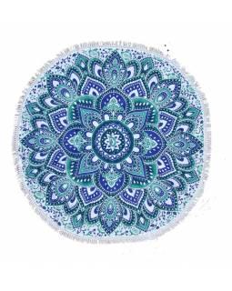 Bavlněný kulatý přehoz/ubrus s mandalou, modro-bílý, 60 cm