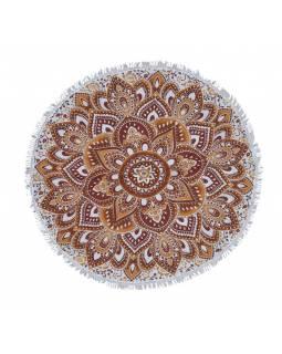 Bavlněný kulatý přehoz/ubrus s mandalou, hnědo-bílý, 60 cm