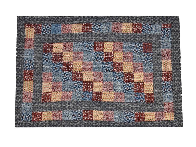 Patchworkový přehoz na postel, prošívaný, ruční práce, 150x225cm