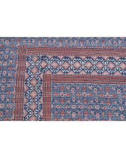 Přehoz na postel, tmavě modrý, prošívaný, blockprint, ruční práce, 140x220cm