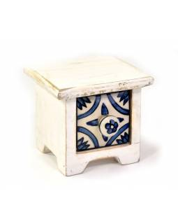 Dřevěná skříňka s keramickým šuplíčkem, 10x10x9cm