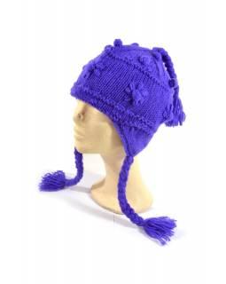 Čepice s ušima, fialová, ruční práce, vlna, podšívka