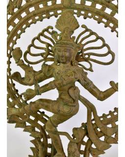 Soška Šiva Natarádža, mosaz, tyrkysová patina,  tančící v kruhu, 60x20x75cm