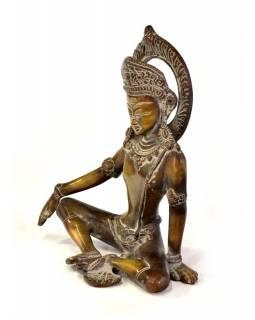 Indra, král bohů, mosazná soška, 15x8x18cm