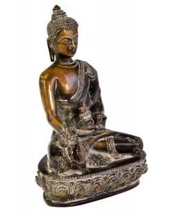 Buddha uzdravující, mosazná soška, 17x10x25cm