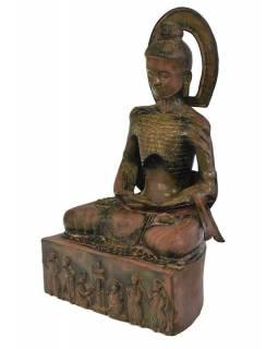 Buddha asketa, mosazná soška, 28x20x47cm