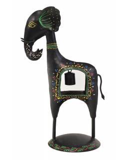 Soška slona se zvonečkem, ručně malovaný kov, černý, 23x15x38cm