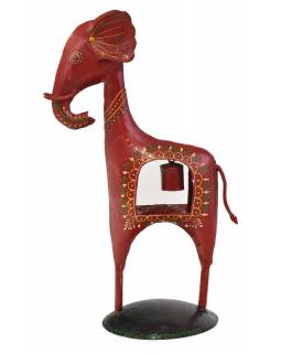 Soška slona se zvonečkem, ručně malovaný kov, červený, 23x15x38cm