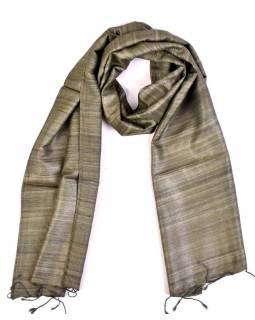 Šátek z hrubého hedvábí, khaki zelená, třásně, 35x180cm