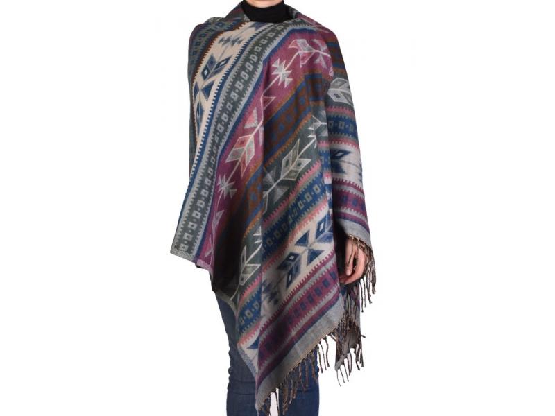 Velký zimní šál s geometrickým vzorem, fialovo-šedá, 205x90cm