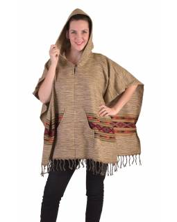 Barevné pončo s kapucí a třásněmi, vzor aztec, béžové