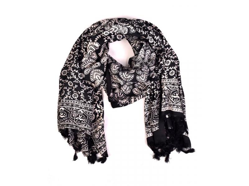 Sárong, floral a mandala design, černo-bílý, 100x170cm