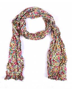 Multibarevný šátek, mačkaná úprava, puntíkový potisk, 55x170cm