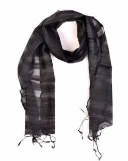 Šátek z hrubého hedvábí, tmavě šedivý, třásně, 35x180cm